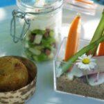 Cromesqui, légumes croquants et crème de roquefort
