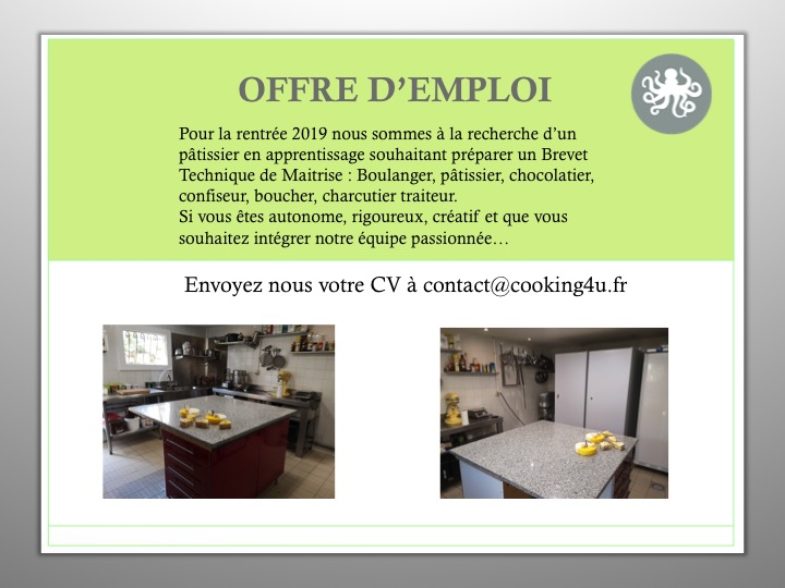 COOKING4U - Offre d'emploi Patissier